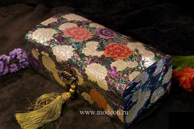 Перламутровая шкатулка Цветочный сад, большая