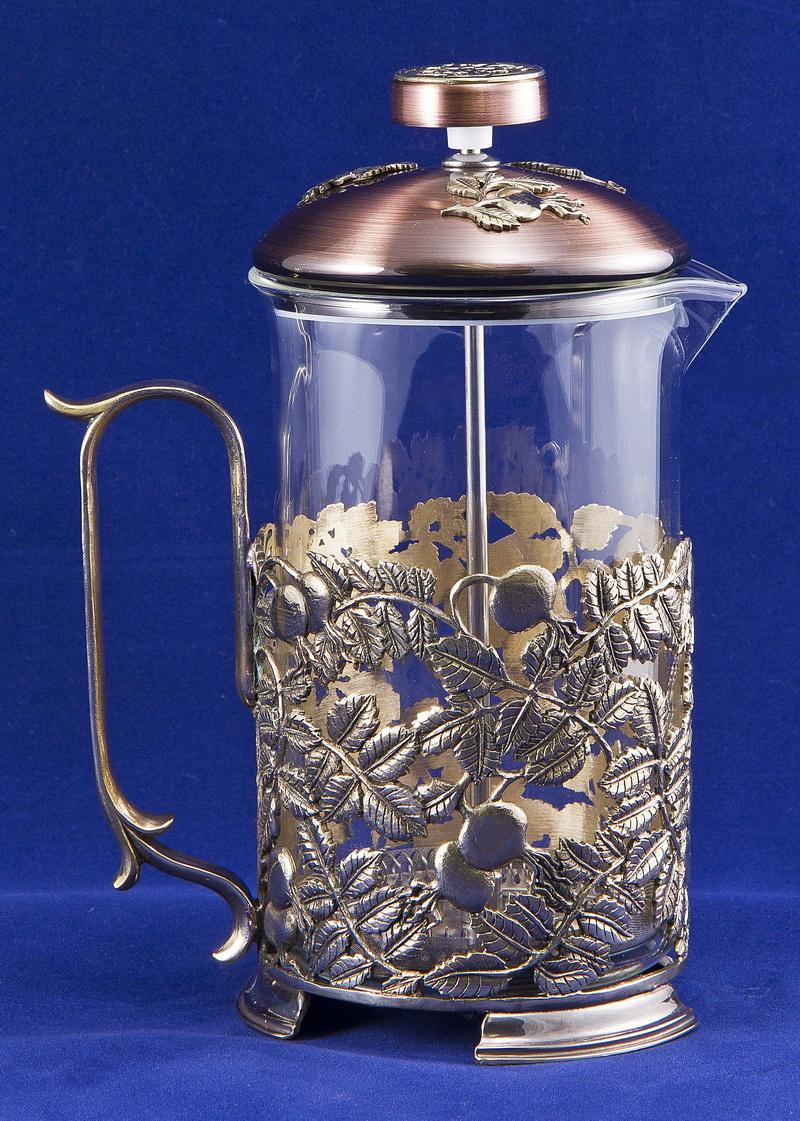 Набор для чая с френч-прессом Шиповник, латунь