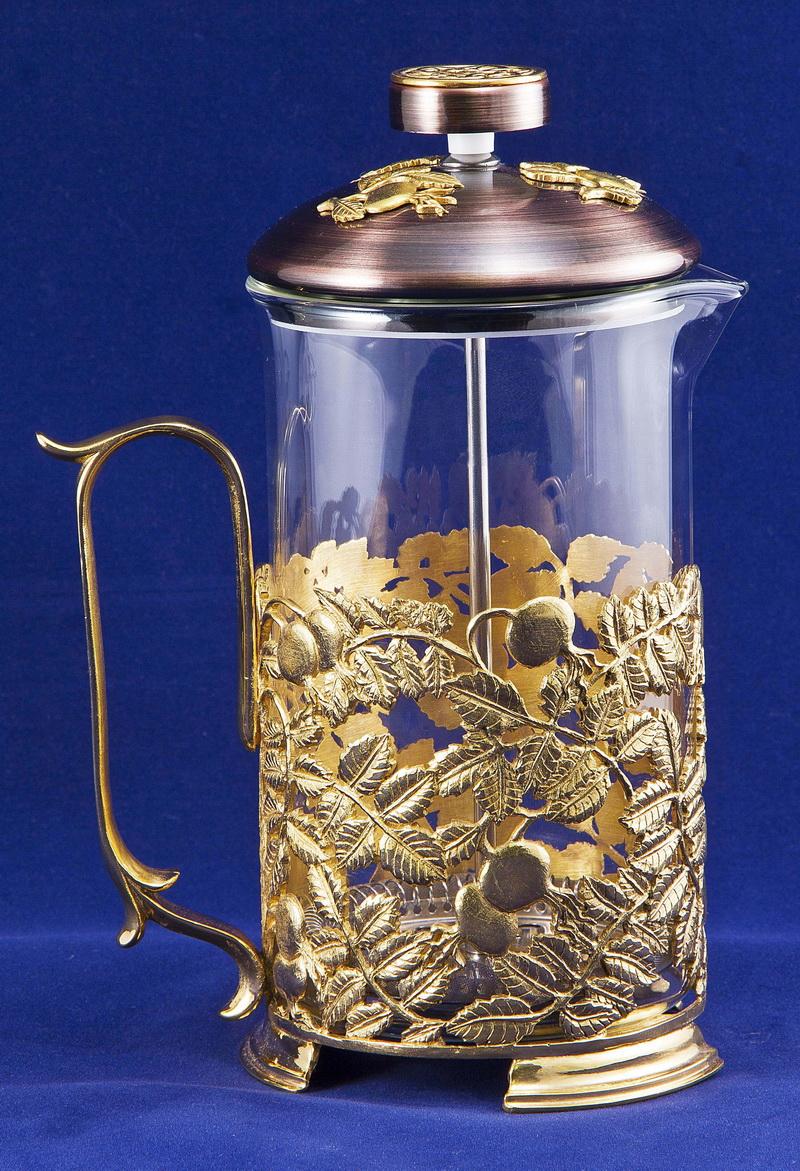 Набор для чая с френч-прессом Шиповник, золото