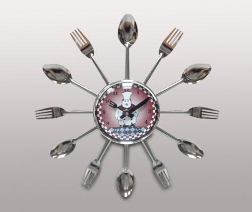 Часы для кухни Вилки, ложки, бордовые с поваренком