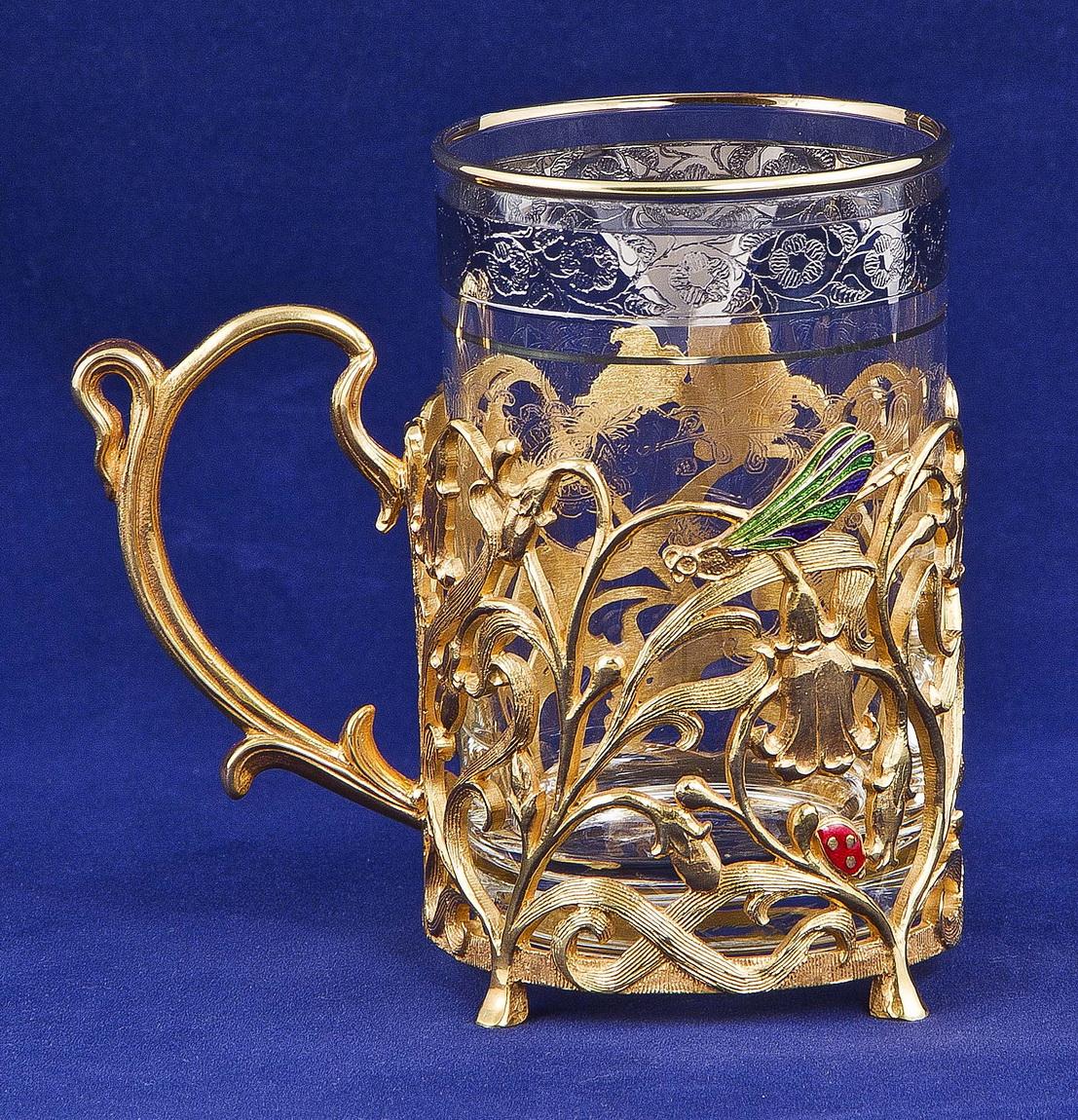 Набор для чая с френч-прессом Колокольчик, золото
