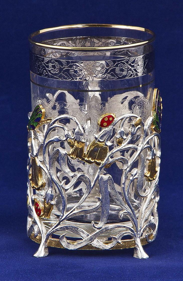 Набор для чая с френч-прессом Колокольчик, золото+серебро