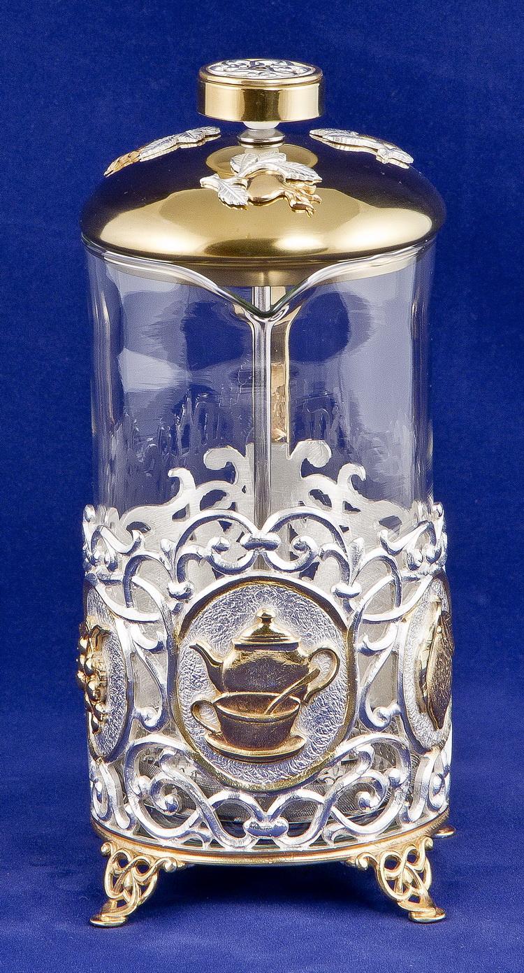 Набор для чая с френч-прессом Чаепитие, золото+серебро