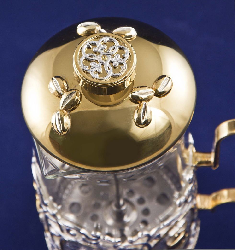 Френч-пресс Кофе, серебро+золото