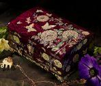 Шкатулка для украшений Хризантемы и бабочки, фиолетовая.