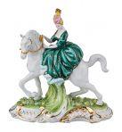 Статуэтка Девушка на лошади, в изумрудном.