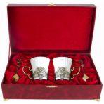 Набор из двух чашек в шкатулке Герб, золото.