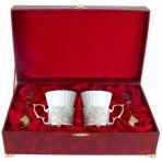 Набор из двух чашек в шкатулке Герб, серебро.