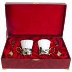 Набор из двух чашек в шкатулке Ирисы и Колокольчики.