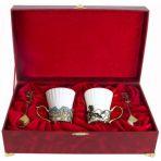 Набор из двух чашек в шкатулке Ирисы и Незабудки.