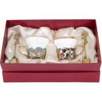 Фарфоровая чайная пара в картонном футляре Колокольчики и Незабудки.
