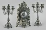 Часы каминные Ангелы в ладье с канделябрами на 5 свечей, антик.