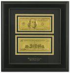 Картина с банкнотой 100 долларов США.