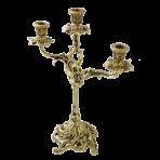 Канделябр высокий на 3 свечи Флор, золото.